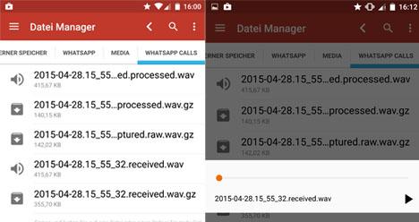 WhatsApp Calls schneidet Anrufe mit: Vergangene Telefonate abspielen.