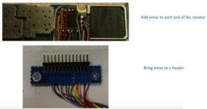Bild mit eingelöteten Meßwiderständen und Kabeln zum Stecker für alle zu untersuchende Funktionsblöcke. (Foto: ARM)