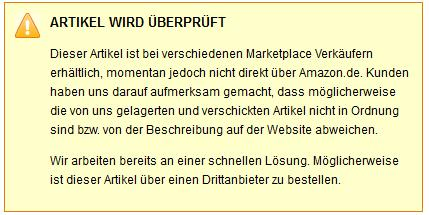 Amazon Meldung (Bild: Amazon)