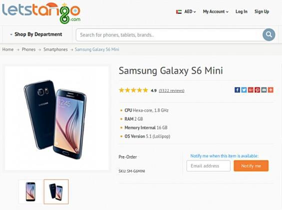 Screenshot des letstango.com-Online-Shops mit dem Samsung Galaxy S6 mini