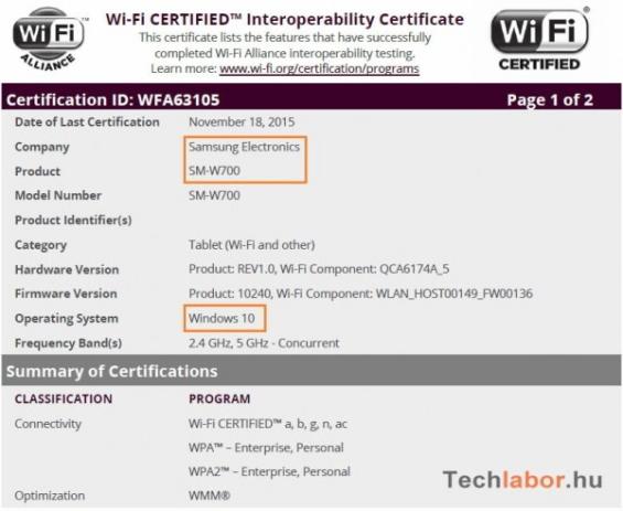 Zertifizierung Samsung Tablet (Bild techlabor hu)